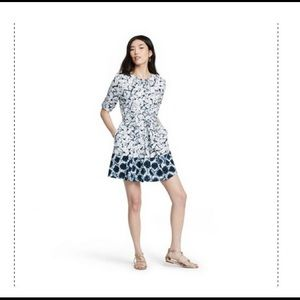 Shibori elbow sleeve button front shirtdress